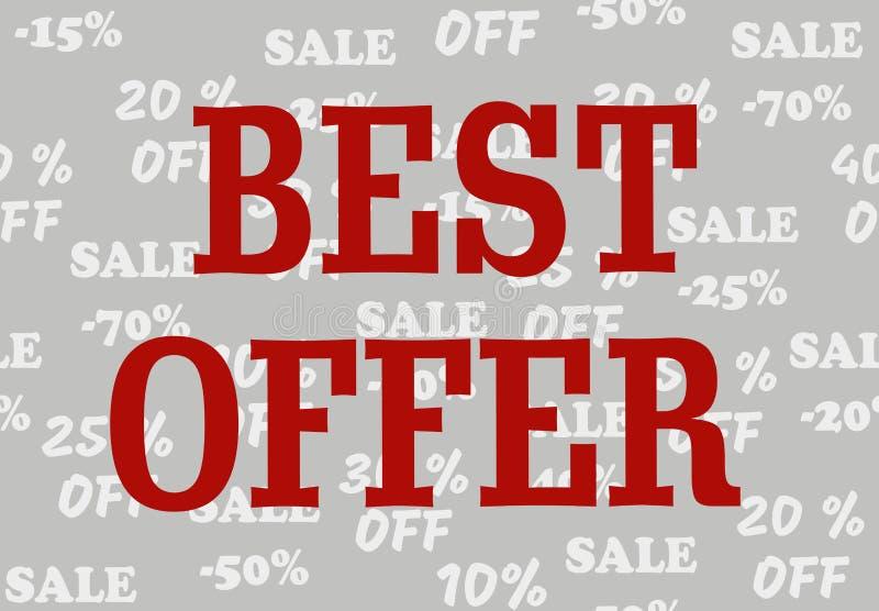 Fondo gris con diversos porcentajes de descuento y oferta del texto promocional la mejor stock de ilustración