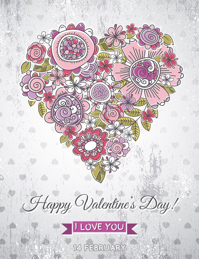 Fondo gris con el corazón de la tarjeta del día de San Valentín del flo de la primavera stock de ilustración