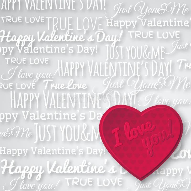 Fondo gris con el corazón y el wishe rojos de la tarjeta del día de San Valentín ilustración del vector