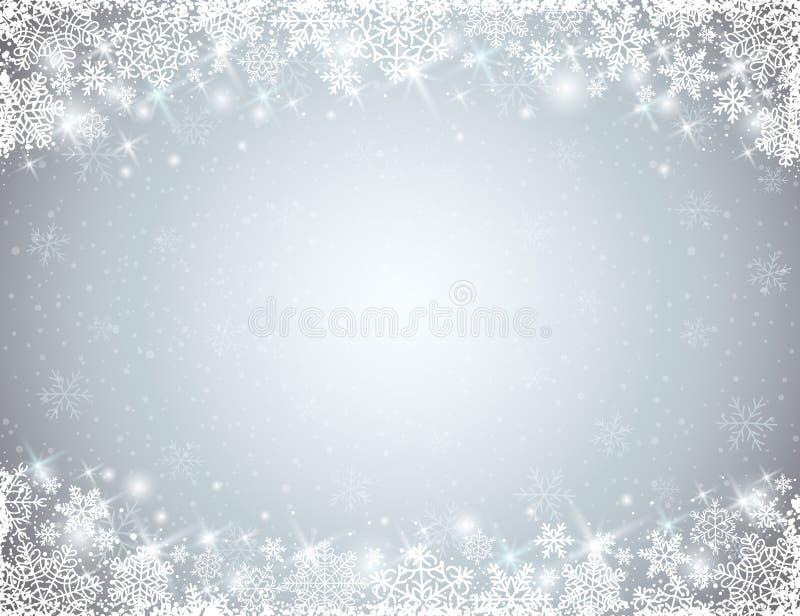 Fondo gris con el marco de copos de nieve stock de ilustración