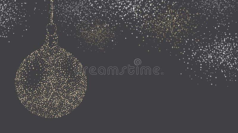Fondo gris con la bola abstracta de la Navidad stock de ilustración