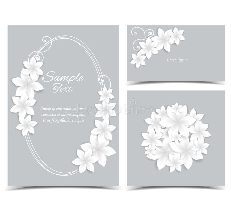 Fondo gris con las flores blancas ilustración del vector