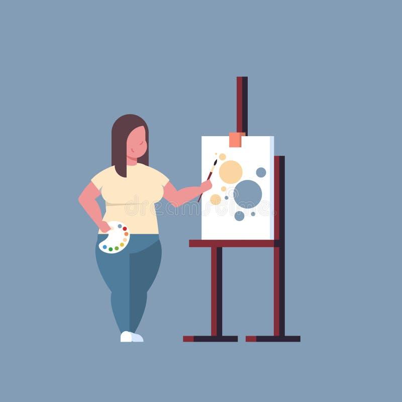 Fondo gris de la mujer del pintor de la tenencia de la brocha de la muchacha del artista de pintura de proceso del arte del estud stock de ilustración