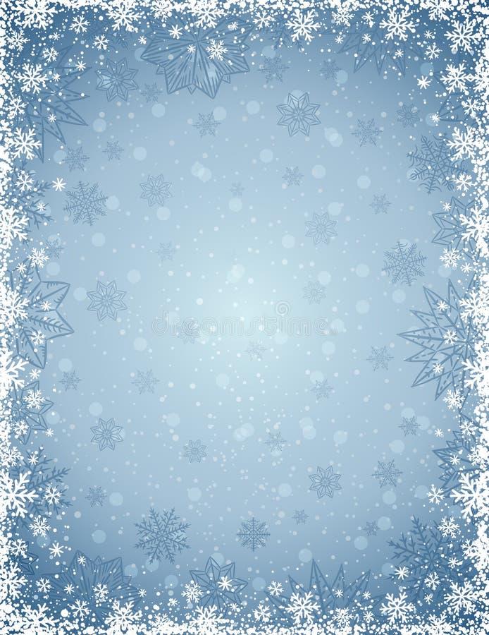 Fondo gris de la Navidad con el marco de copos de nieve y de estrellas stock de ilustración