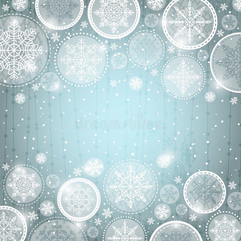 Fondo gris de la Navidad con los copos de nieve ilustración del vector
