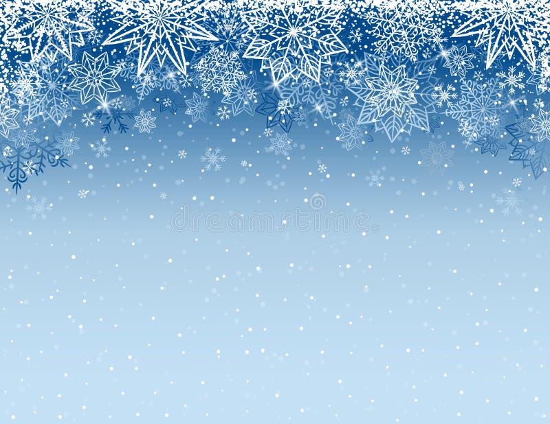 Fondo gris de la Navidad con los copos de nieve y las estrellas, vector stock de ilustración