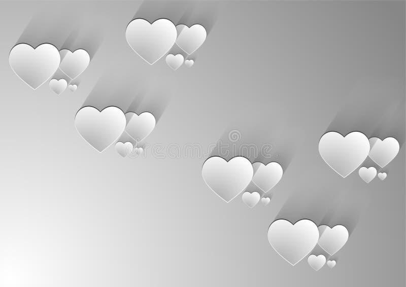 Fondo gris de los corazones stock de ilustración