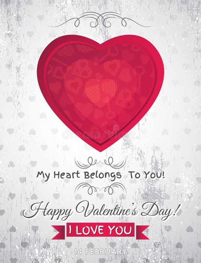 Fondo gris del grunge con el corazón rojo a de la tarjeta del día de San Valentín stock de ilustración