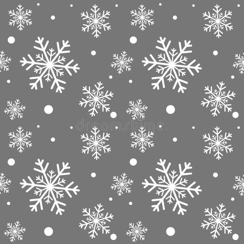 Fondo gris del invierno con los copos de nieve blancos Para la materia textil, el papel, el scrapbooking, el embalaje, el web y l ilustración del vector