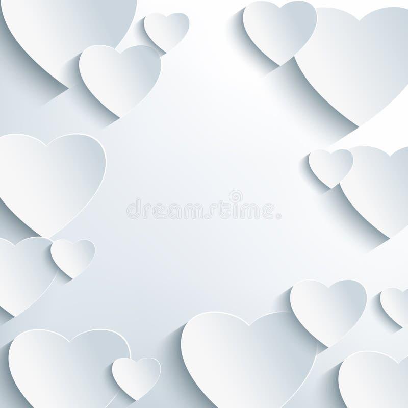 Fondo gris elegante con los corazones del papel 3d stock de ilustración