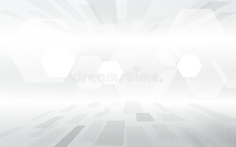 Fondo gris geométrico de alta tecnología digital del concepto del color de la tecnología abstracta Espacio para su texto ilustración del vector