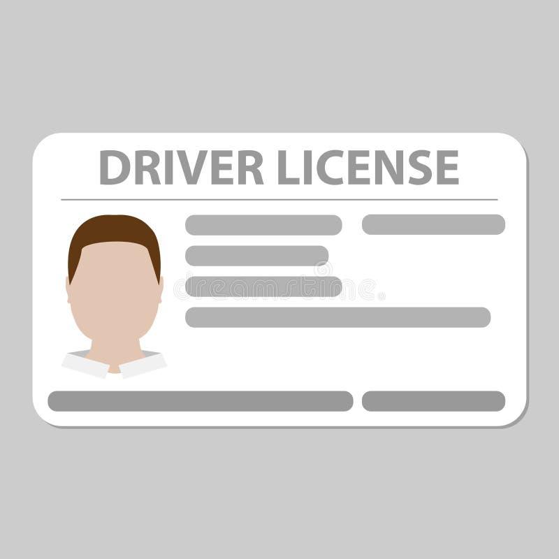 Fondo gris llano de la tarjeta plástica del carné de conducir ilustración del vector