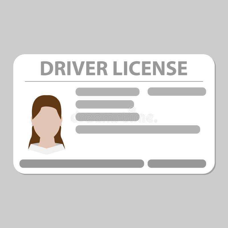 Fondo gris llano de la tarjeta plástica del carné de conducir stock de ilustración