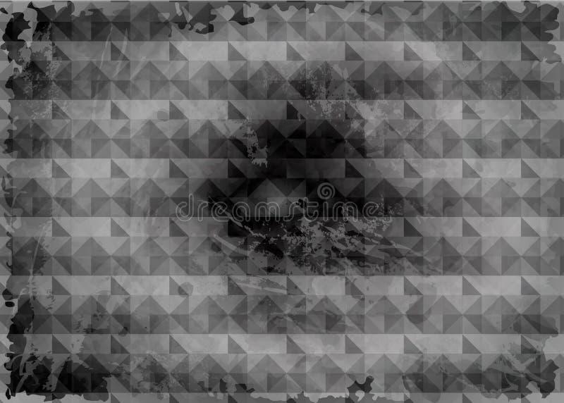 Fondo gris oscuro de la acuarela, protector de pantalla monocromático Geométrico negro abstracto con los rasguños stock de ilustración