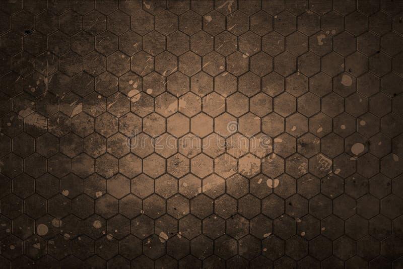 Fondo gris oscuro del hexágono y textura real libre illustration