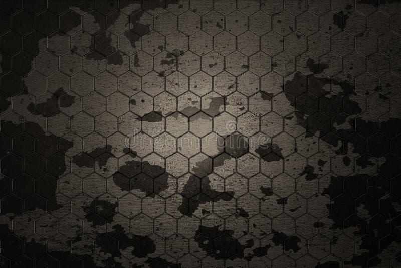 Fondo gris oscuro del hexágono y textura real ilustración del vector