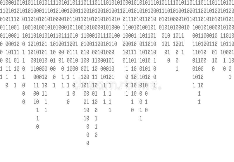 Fondo gris que cae del código binario stock de ilustración