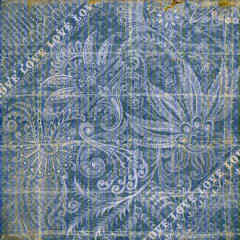 Fondo grungy d'annata floreale blu e grigio immagine stock