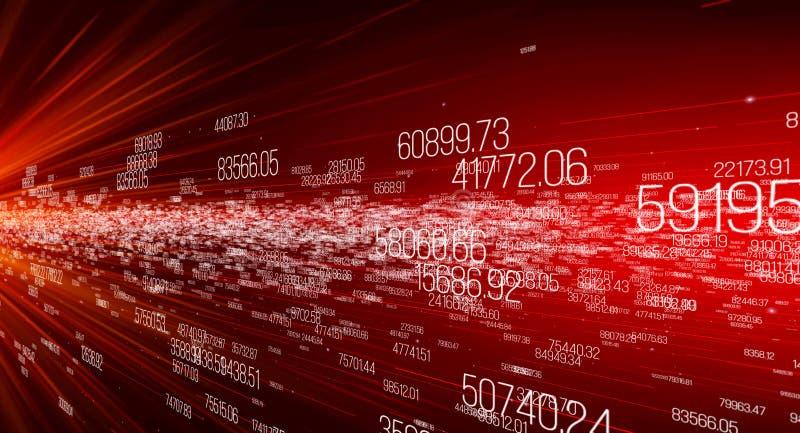 Fondo hecho de dígitos, movimiento de datos digitales stock de ilustración