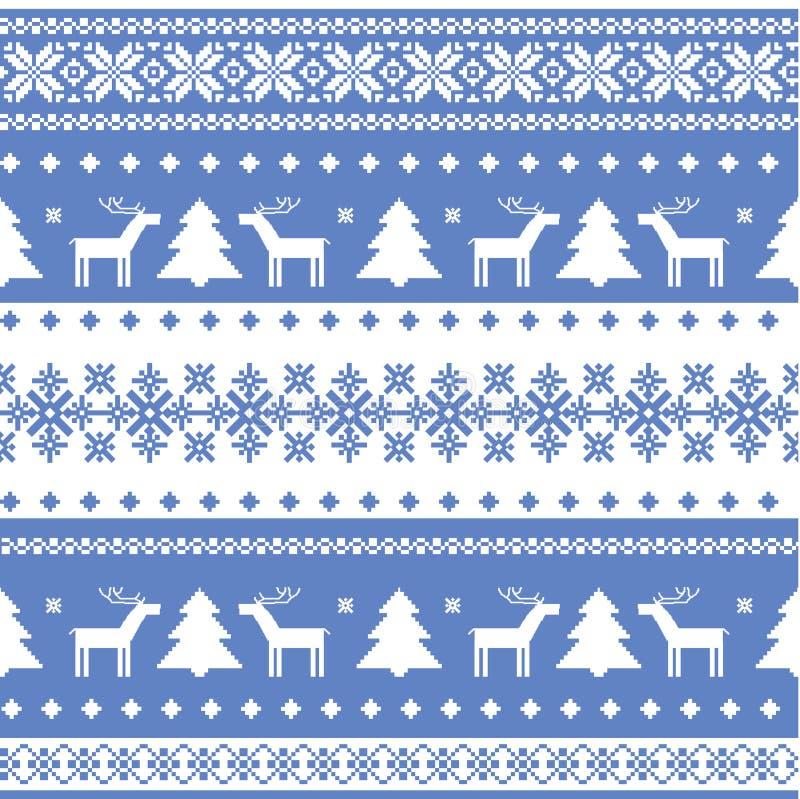 Fondo hecho punto la Navidad inconsútil nórdica stock de ilustración