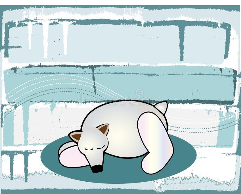 Fondo helado del invierno con el oso ilustración del vector