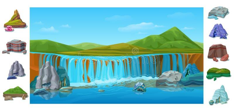 Fondo hermoso colorido del paisaje de la naturaleza de la historieta stock de ilustración