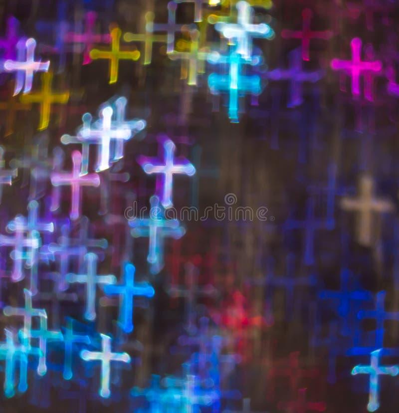 Fondo hermoso con diversa cruz coloreada, parte posterior abstracta fotografía de archivo libre de regalías