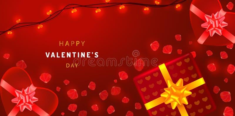 Fondo hermoso de día de San Valentín con las cajas de regalo en forma de corazón, las guirnaldas y los pétalos color de rosa Mode stock de ilustración