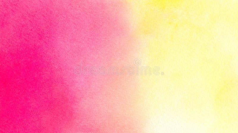 Fondo hermoso de la acuarela en amarillo rosado anaranjado vibrante Grande para las texturas y los fondos para sus proyectos y es stock de ilustración