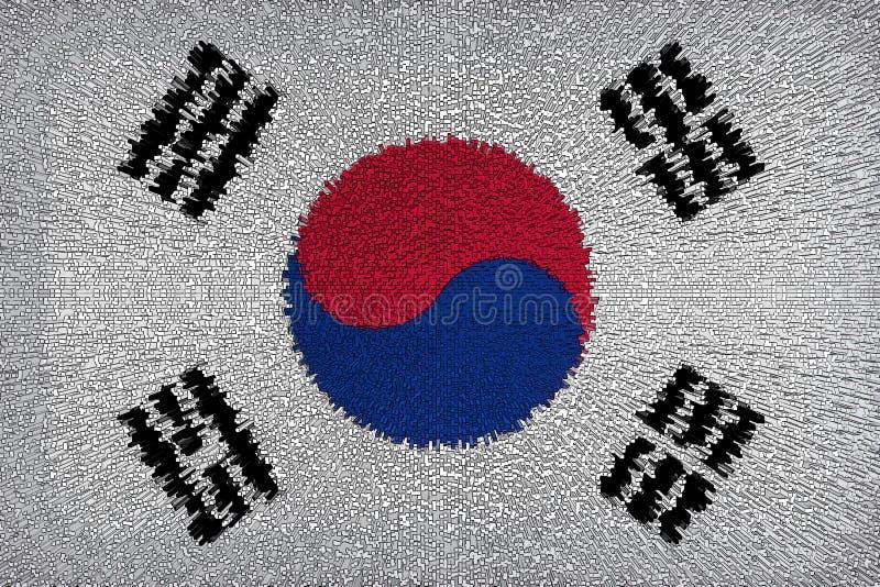 Fondo hermoso de la bandera del cierre de Corea para arriba ilustración del vector