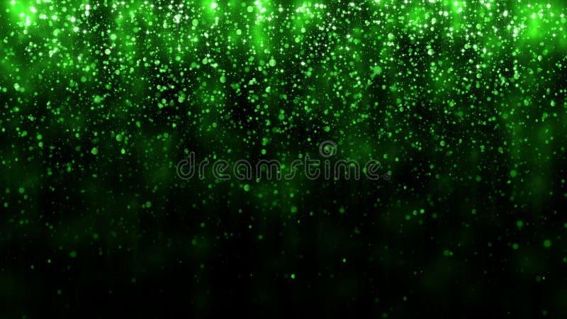Fondo hermoso de la luz del brillo Fondo con la plantilla verde de las partículas que cae para el diseño superior Luz mágica stock de ilustración