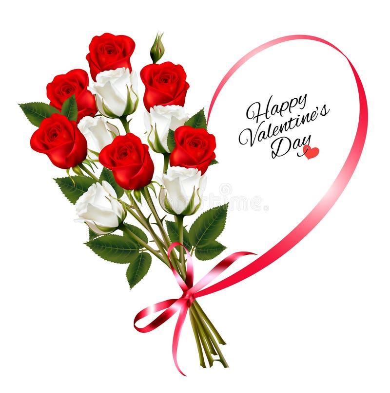 Fondo hermoso de la tarjeta del día de San Valentín del día feliz del ` s con las rosas stock de ilustración
