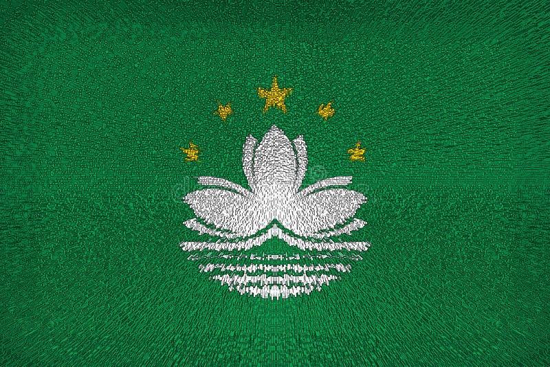 Fondo hermoso del cierre de la bandera de Macao para arriba libre illustration