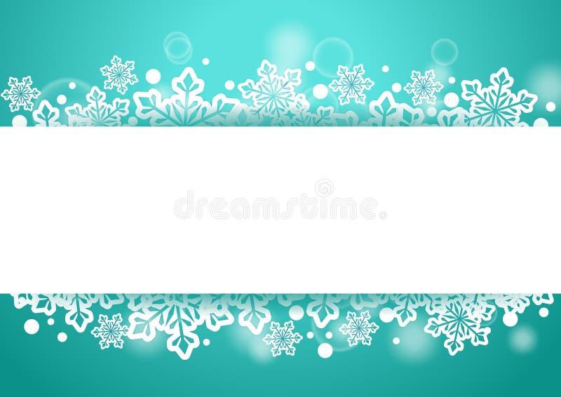 Fondo hermoso del invierno con las escamas de la nieve y espacio blanco para las palabras ilustración del vector