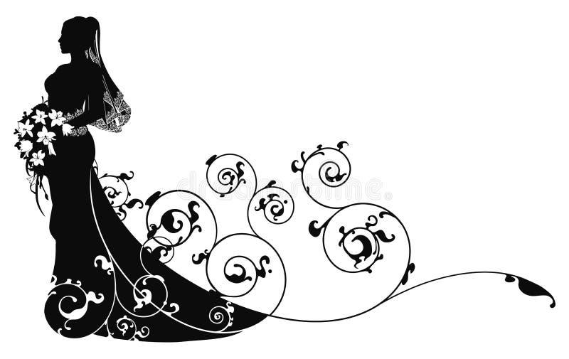 Fondo hermoso del modelo de la alineada de boda de la novia ilustración del vector
