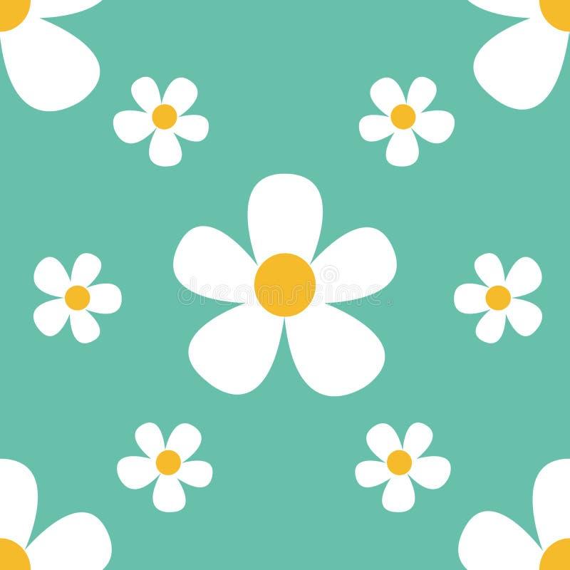 Fondo hermoso del verano con las flores de las margaritas Modelo inconsútil floral Ilustración del vector libre illustration