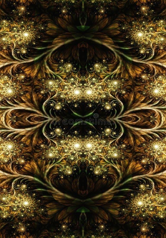 Fondo hermoso enérgico liso artístico brillante generado por ordenador de las ilustraciones de los fractales del extracto 3d ilustración del vector