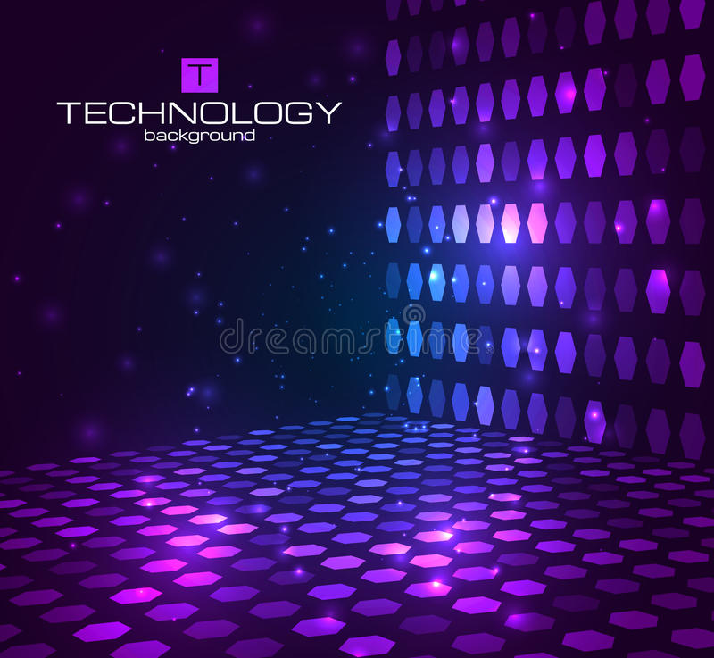 Fondo hexagonal abstracto Etapa retra del disco stock de ilustración