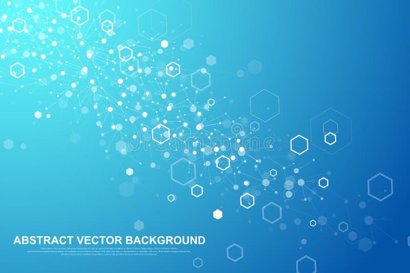 Fondo hexagonal abstracto Fondo futurista de la tecnología en estilo de la ciencia Fondo gráfico del maleficio para su diseño libre illustration