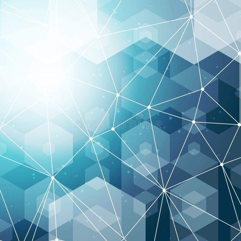 Fondo hexagonal azul del espacio poligonal abstracto con los puntos y las líneas de conexión Ilustración del vector stock de ilustración