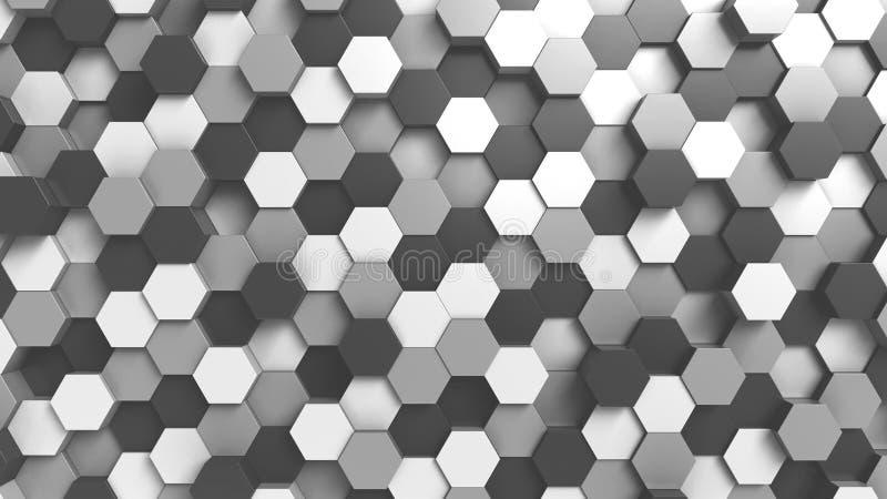 Fondo hexagonal blanco y negro abstracto, representación 3D stock de ilustración