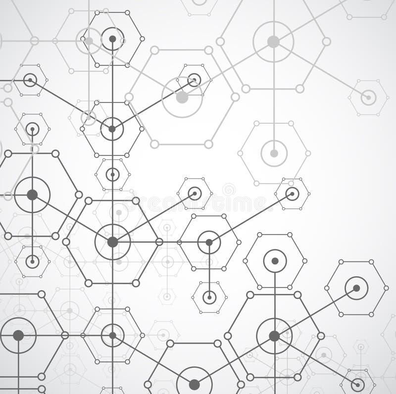 Fondo hexagonal de la tecnología brillante blanca abstracta Connectio libre illustration