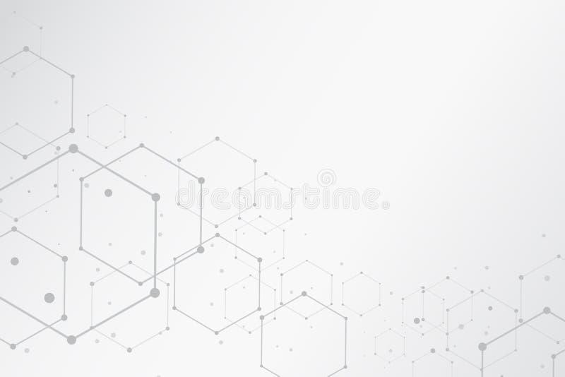 Fondo hexagonal de las estructuras moleculares del extracto con el balneario de la copia stock de ilustración