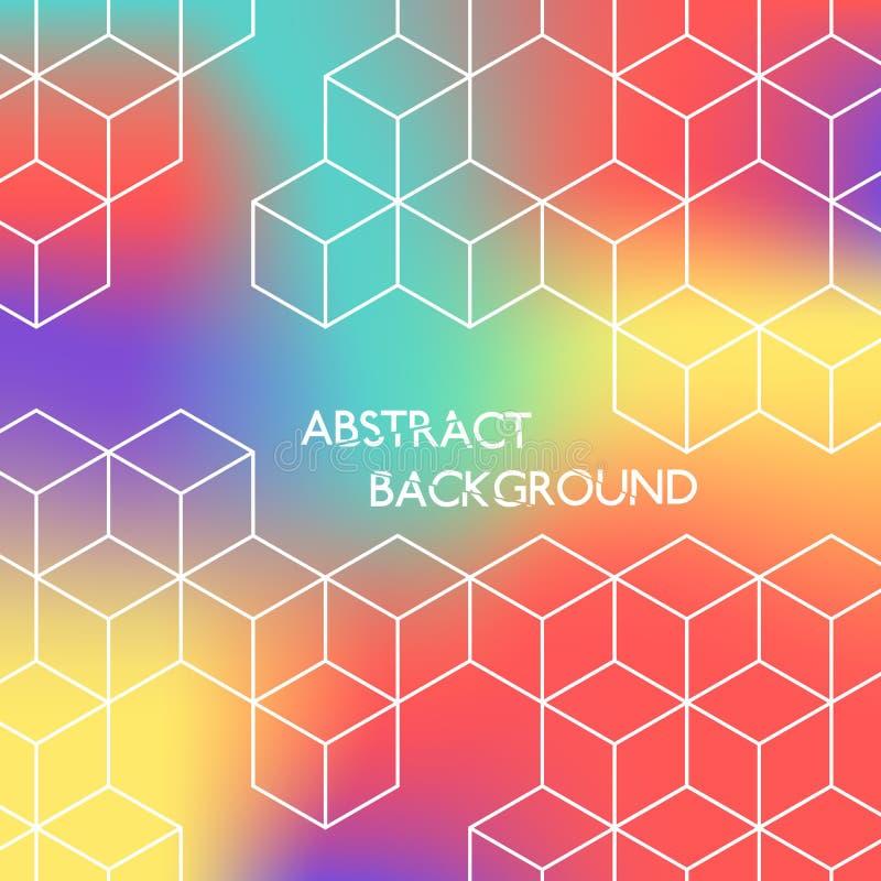 Fondo hexagonal del color abstracto Cubos blancos en fondo coloreado ilustración del vector