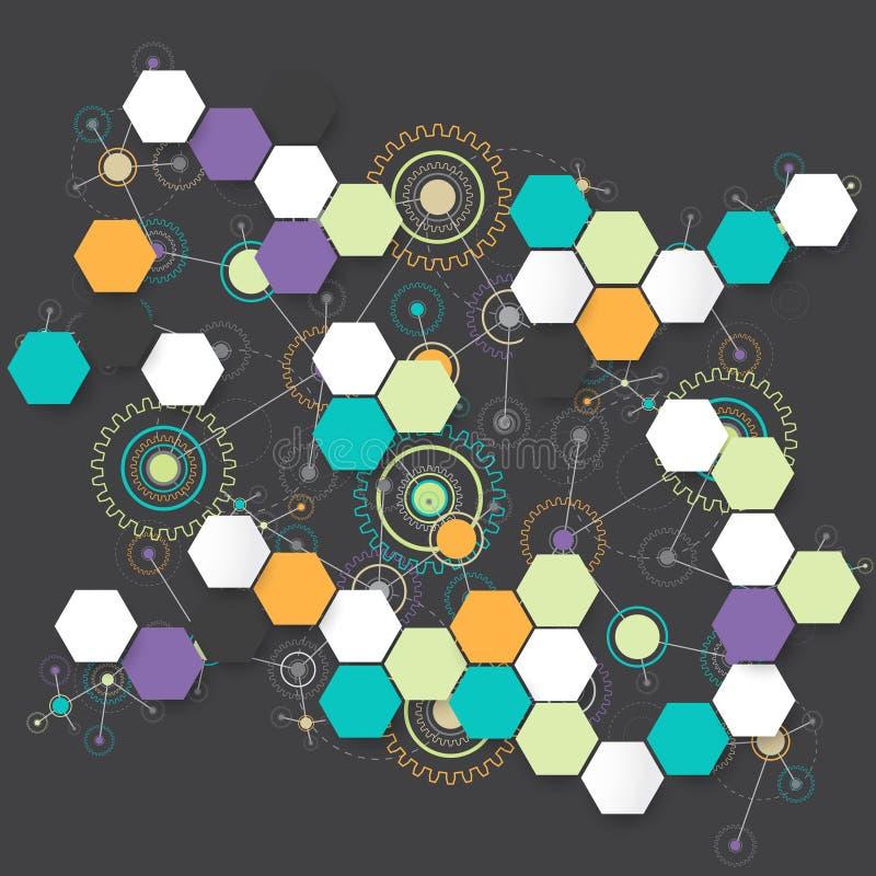 Fondo hexagonal tecnológico del color abstracto ilustración del vector