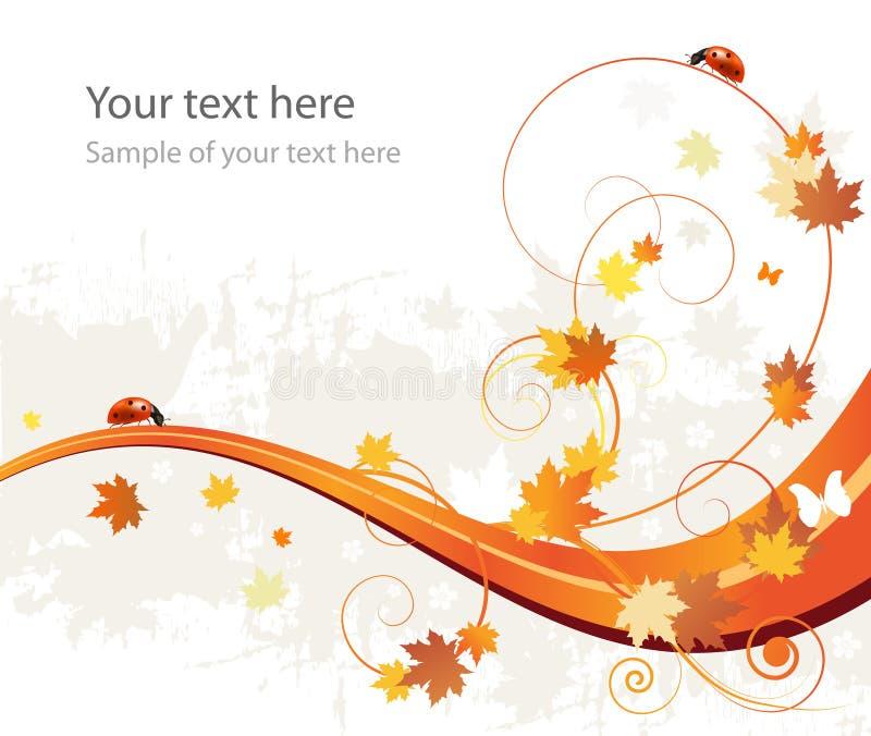 Fondo, hojas y mariquitas del modelo del otoño libre illustration