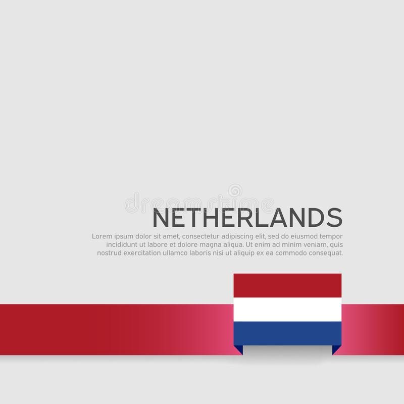 Fondo holand?s de la bandera Cinta holandesa de la bandera en el fondo blanco Cartel nacional Dise?o plano del vector Estado patr libre illustration