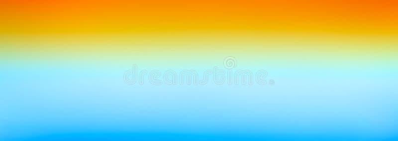 Fondo horizontal colorido de la textura de la acuarela de la pendiente brillante azul del amarillo anaranjado de la bandera del w libre illustration