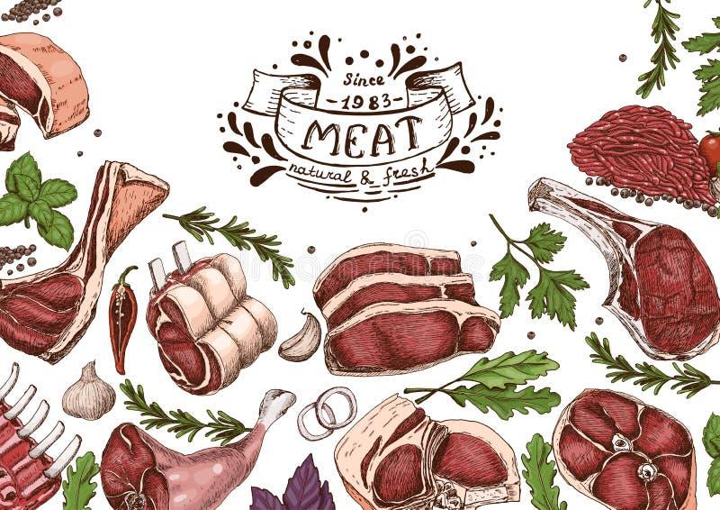 Fondo horizontal con las carnes ilustración del vector