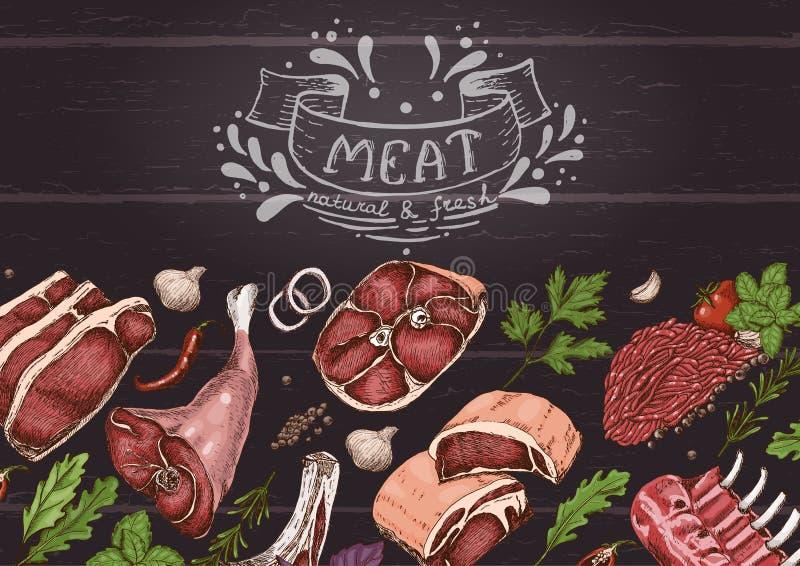 Fondo horizontal con las carnes libre illustration
